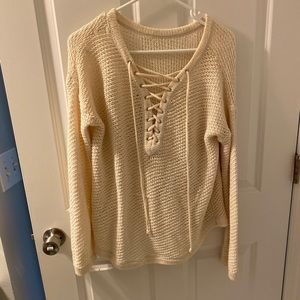 fall cream sweater lace up